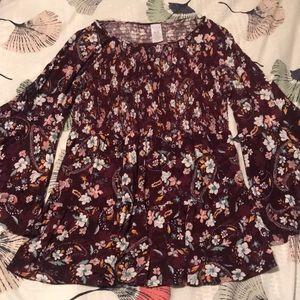 Floral Boho Tunic Blouse Flared Sleeve